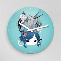 하야작가 인어공주 토끼거북이 무소음아크릴벽시계 (55309)