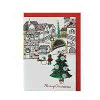 크리스마스카드/성탄절/트리/산타 눈내린마을 (FS156-1)
