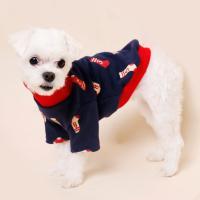 [펫딘]양말 시보리 폴라 배색 강아지옷 티셔츠 레드