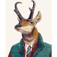 DIY 명화그리기키트 - 겨울 사슴 40x50cm (물감2배, 컬러캔버스, 명화, 동물, 사슴, 겨울)