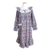 [쿠비카]플라워 프릴 넥 기모 원피스 여성잠옷 W397