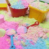 스노우샌드 모래놀이 3색세트(800gx3) 핑크/블루/옐로우/지퍼백 포장/형광모래놀이세트