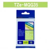 [부라더정품]라벨테이프 TZe-MQG35(12mm x 5M) (라임그린바탕/하얀글씨)