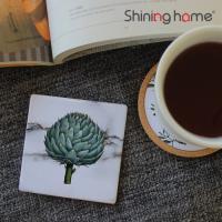 윈터그린 타일 컵받침/코스터 사각 코르크