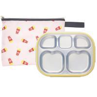 팝핑팝콘 하트형 옐로우 유아식판 뚜껑+파우치 포함