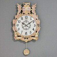 (kspz235)저소음 넝쿨부엉이 추 시계 핑크G