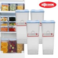 냉장고수납용기 납작이플러스 높은특대 4개세트+누름판4개