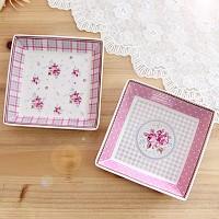 Finecasa 핑크로즈 사각접시 2p set