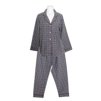 [쿠비카]배색 체크 피치 기모 투피스 여성잠옷 W704