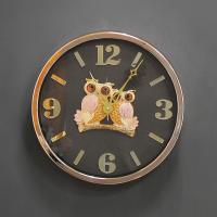 (kcjg046)저소음 트윈부엉이 시계 골드 350