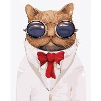 DIY 명화그리기키트 - 썬그리 고양이 40x50cm (물감2배, 컬러캔버스, 명화, 동물, 고양이, 선글라스, 썬그리)