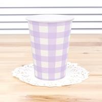 체크 종이컵-라벤더(6개입)
