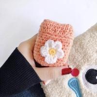 에어팟1/2 예쁜 꽃 뜨개질 니트 충전 케이스_피치 306