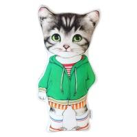 고양이삼촌 쿠션 - 녹색후드 콜