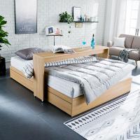 [채우리] 로라 침대 SS_겹면 양면매트리스 포함 + 베드테이블
