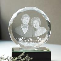 원형 120 - 부모님감사패 인물입체조각 3D크리스탈