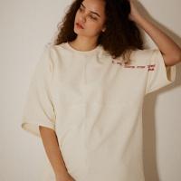 오버핏 소매 레터링 5부 티셔츠(남여공용) 크림