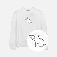 차도냥 기모 맨투맨 티셔츠-화이트