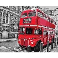 DIY 명화그리기키트 - 빨간 2층버스 40x50cm (물감2배, 컬러캔버스, 명화, 풍경화, 빨간버스, 2층버스)