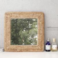 [2HOT] 라탄 벽걸이 거울 사각 대