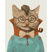 DIY 명화그리기키트 - 지니어스 캣 40x50cm (물감2배, 컬러캔버스, 명화, 동물, 고양이, 지니어스, 캣)