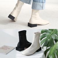 [애슬릿]스퀘어 굽 지퍼 여성 삭스 앵클 부츠 3cm