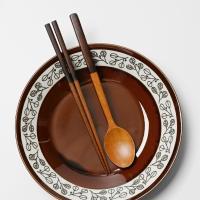 롬우드 원목 투톤브라운 수저세트