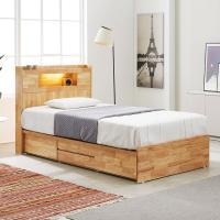 [노하우] 로이 고무나무원목 LED 4서랍 침대 SS