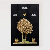 (kdyg006)행복나무 부엉이 벽장식(40x60)