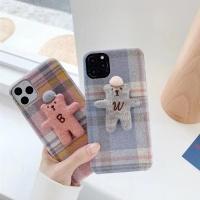 아이폰 귀여운 곰인형 겨울 체크 무늬 패브릭 케이스