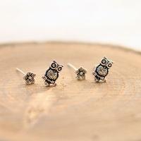 silver owl earring (4p)