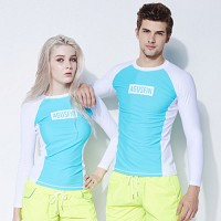 [AGUSFIN] WAVE SQUARE RASHGUARD (MINT-WHITE)