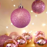 크리스마스 장식볼 오너먼트 5cm 16입 (핑크)
