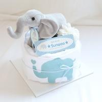 아기코끼리 1단 기저귀케익(목욕타올+바디슈트+코끼리인형)
