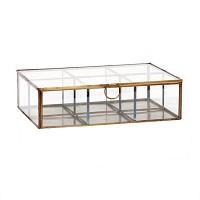 [Hubsch]Glass box w/comp. & metal frame, antique 407018 스납박스
