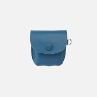 Button Shoulder AirPods Leather Case Blue