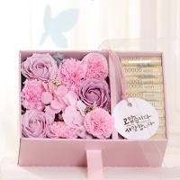 플라워 용돈 박스(핑크-투명뚜껑)