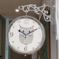 국산 스위트 부엉이 무소음 양면시계 아이보리