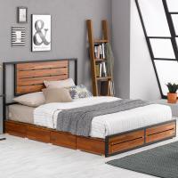 [옵티마]더웰 멀바우 철제프레임 수납형 침대