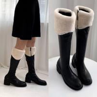 [애슬릿]지퍼 발 편한 양털 여성 롱 부츠 5cm