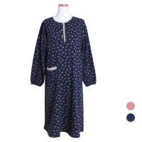 [쿠비카]순면 긴소매라운드 원피스 여성잠옷 W413