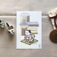 도로보우네코 차 마시는 고양이 일러스트 엽서