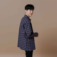 [오알오알] 미니체크 셔츠 네이비  R1-018