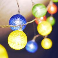 LED 코튼마볼라이트 칼라 (3cm) 20P 웜노랑전구