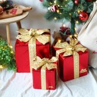 크리스마스 장식용 선물상자 (3개입) 골드리본