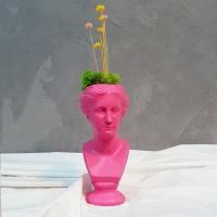 핑크 컬러 석고상화분 워터플라워+모스+리본