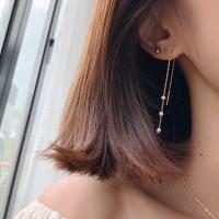 14k 진주 드롭 심플 귀걸이