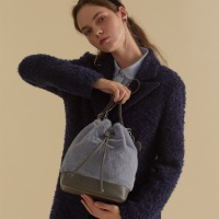 fake fur leather bag_skyblue