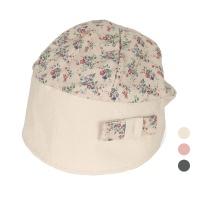 [디꾸보]플라워 배색 띠 린넨 여성 두건 모자 AC513
