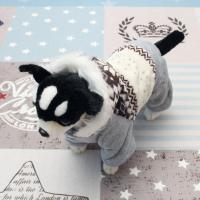[펫딘]눈꽃 털후드 올인원 단계 버튼 강아지옷 브라운